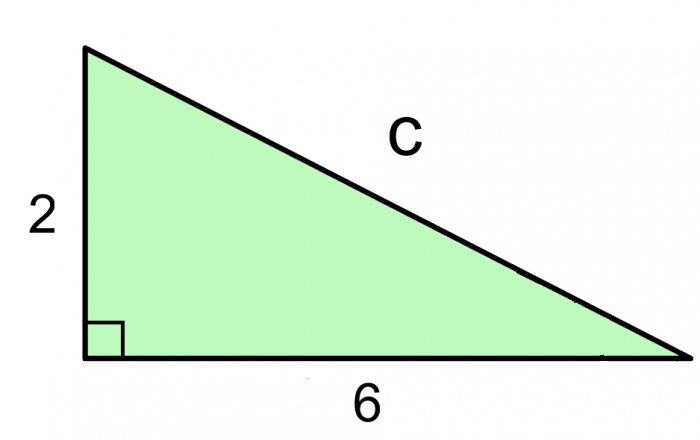a=2 b=6 c=unknown hypotenuse