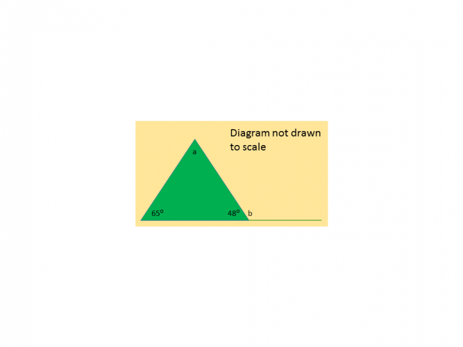 Diagram of a triangle with two angles missing