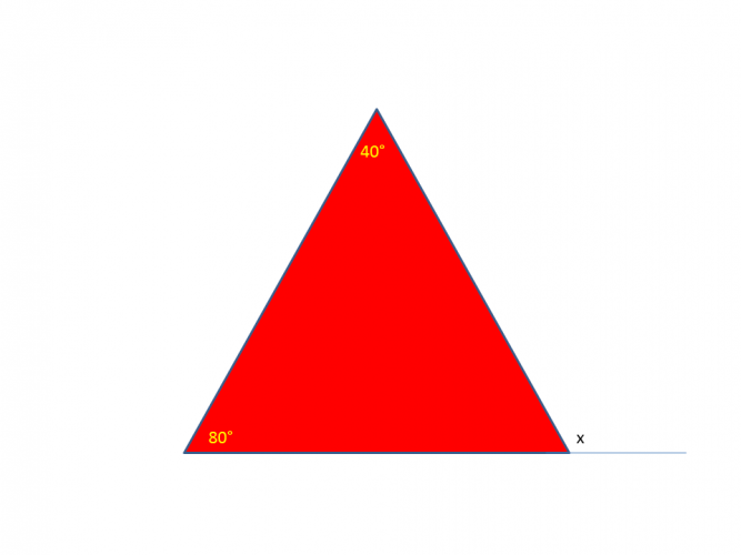 Diagram of a triangle with known and unknown angles