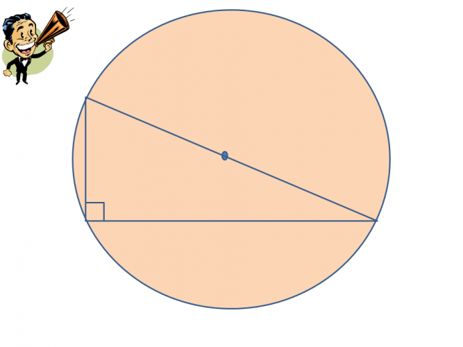 Right angled triangle in a circle