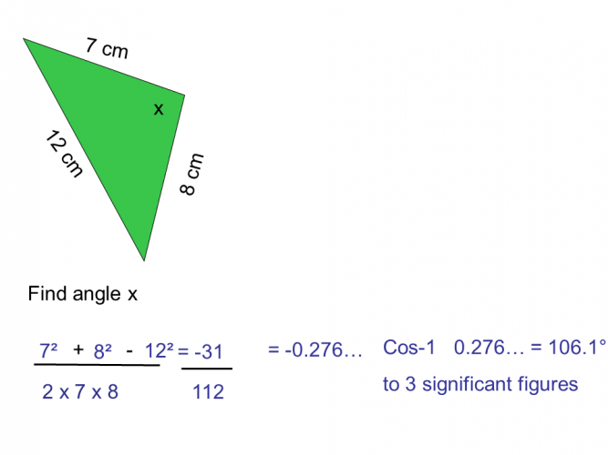cosine rule find an angle example