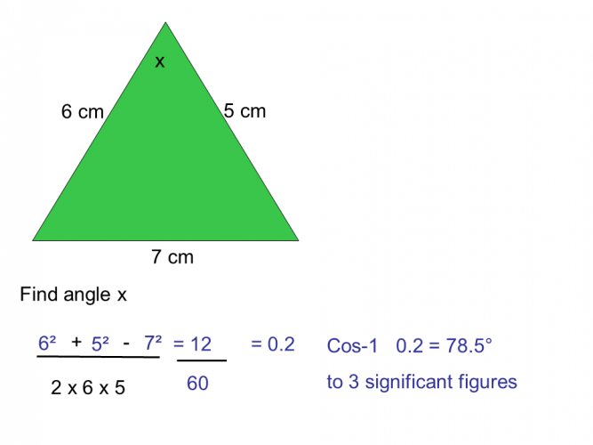 cosine rule find angle example