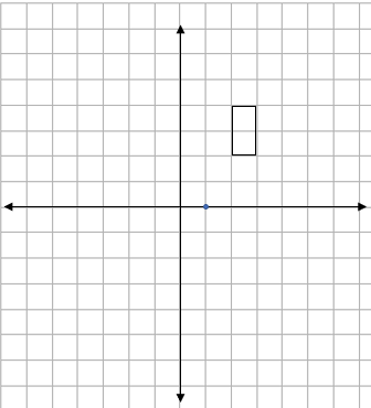 Four quadrant grid showing a rectangle and a centre of enlargement