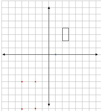Four quadrant grid showing a rectangle, centre of enlargement and four new corners