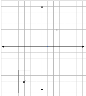 Four quadrant grid showing a starting and enlarged rectangle