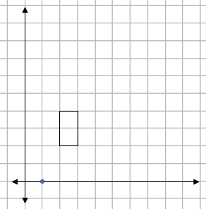 Grid showing a rectangle and a centre of enlargement