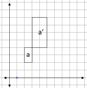 Grid showing two rectangles and a centre of enlargement