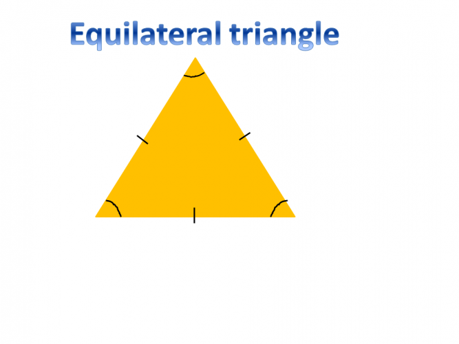 Diagram of an equilateral triangle with notation