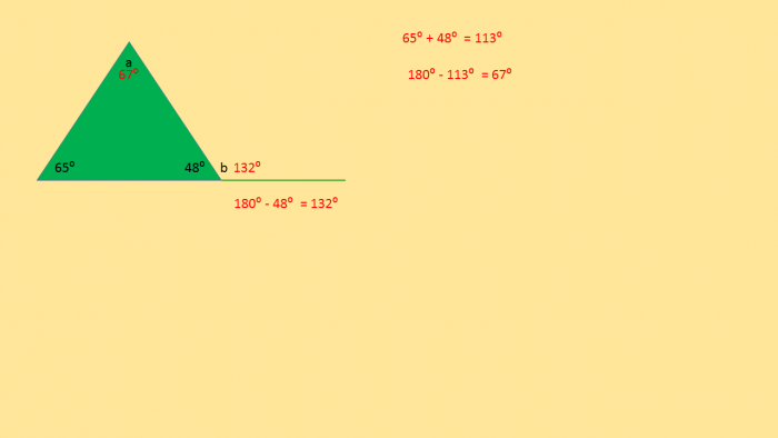 Diagram of finding an external angle of a triangle