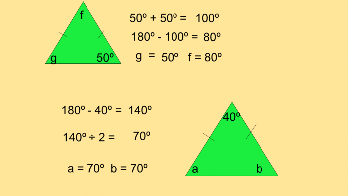 Diagram of finding a missing angle in an isosceles triangle