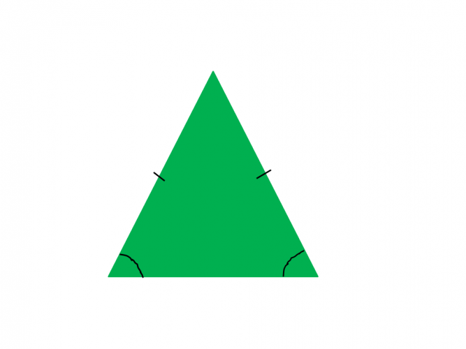 Picture of a green triangle with triangle notation