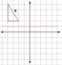 Four quadrant grid with a triangle showing with mirror line