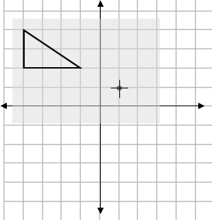Four quadrant grid with a triangle, point and tracing paper overlay