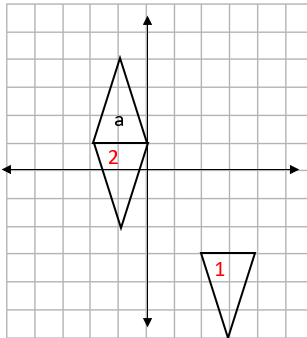 Four quadrant grid showing three triangles