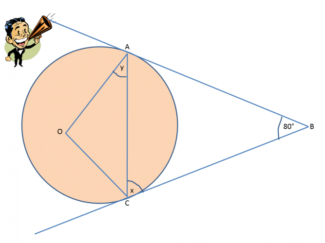 Tangent to a circle with two unknown angles