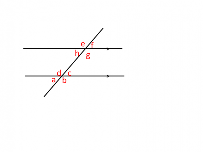 Diagram showing multiple unknown angles around a pair of parallel lines