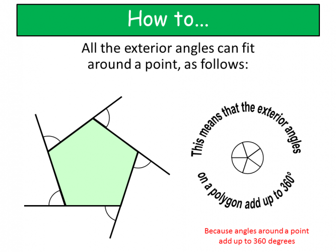 Diagram showing exterior angles example