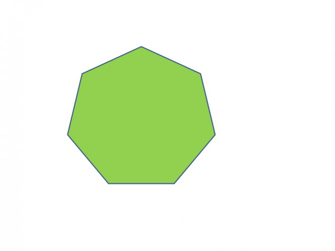 A green heptagon