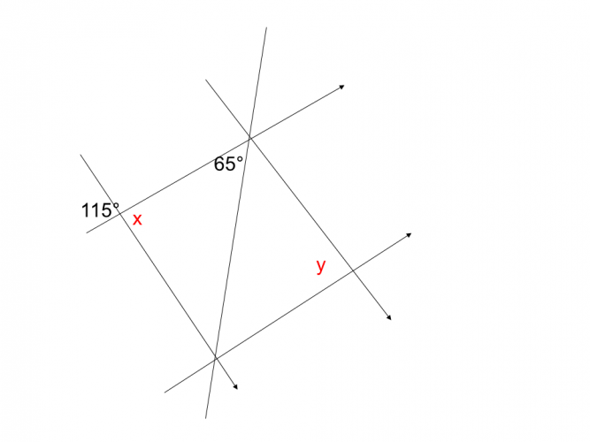 Diagram showing known and unknown angles around two pairs of parallel lines