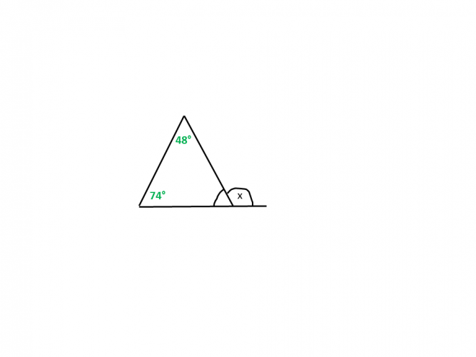 Diagram of a triangle with an angle missing