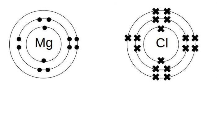 Dot and cross diagrams for magnesium and chlorine