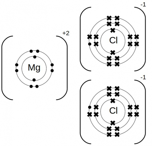 Dot and cross diagrams for magnesium chloride