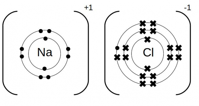 Dot and cross diagrams for sodium chloride