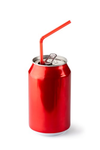 An image of a coke can with a straw in it.