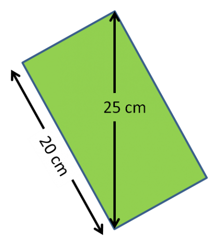 A green rectangle divided into triangles