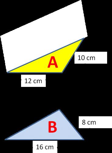 Compare area of triangle A and B