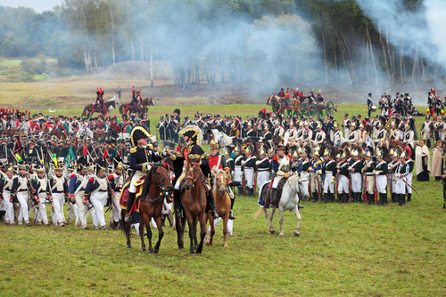 BORODINO, MOSCOW REGION - SEPTEMBER 02: Reenactment of the Borodino battle between Russian and French armies in 1812 at its 200th anniversary on September 02, 2012 in Borodino, Moscow Region, Russia - stock photo