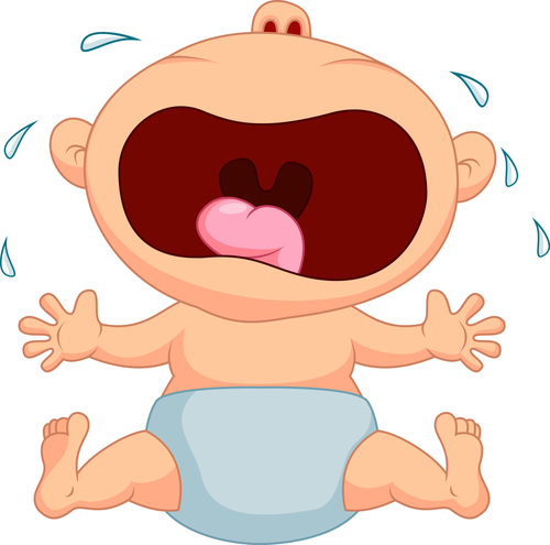 Cartoon baby crying wildly