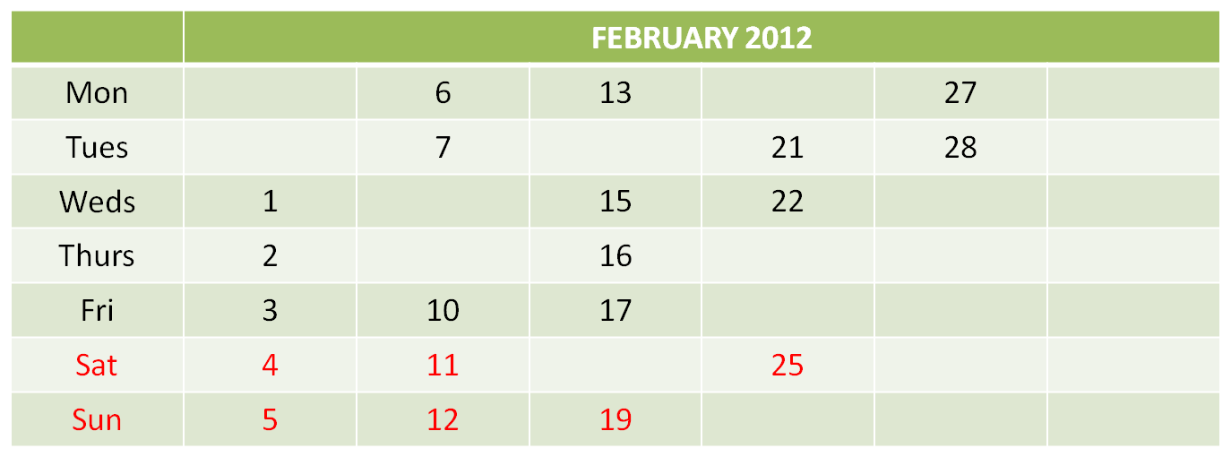 Calendar February 2012