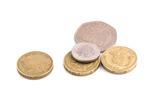 Collect of UK coins (3 pounds, 50p and 5p)