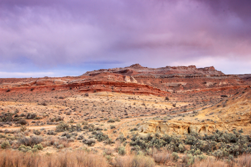 Desert landscape with a dramatic cloudy sky, Utah, USA. - stock photo