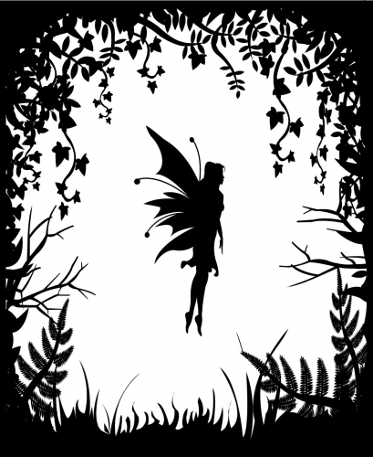 Fairy silhouette on a background of nature - stock vector
