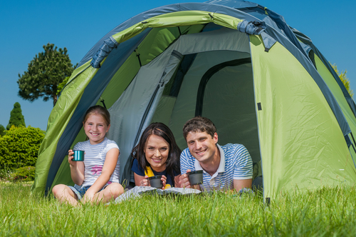 a family in a tent