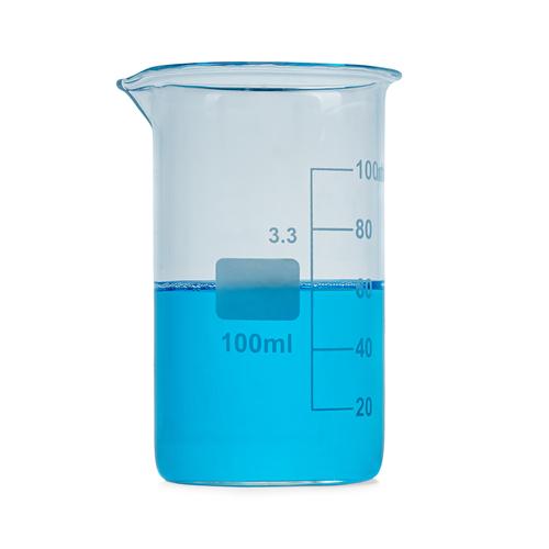 Beaker of blue water