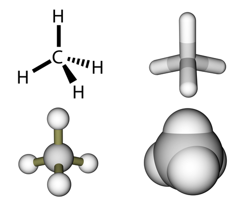 An image showing the molecule methane with one central carbon atom and 4 hydrogen atoms branching off it.