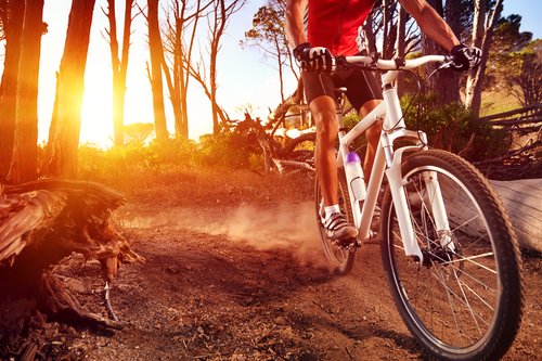 Sunrise with cyclist