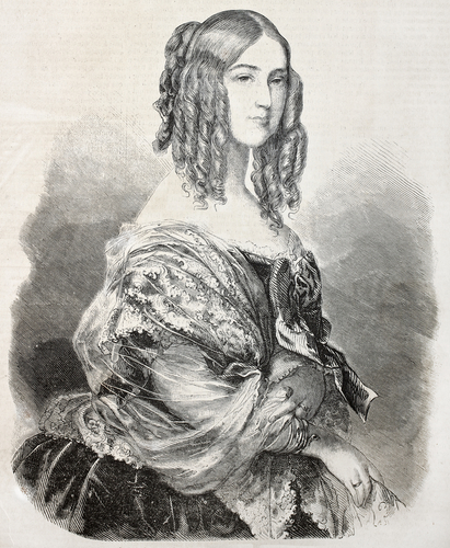 Old engraved portrait of Princess Victoria, Duchess de Nemours. Created by Janet-Lange, published on L'Illustration Journal Universel, Paris, 1857 - stock photo