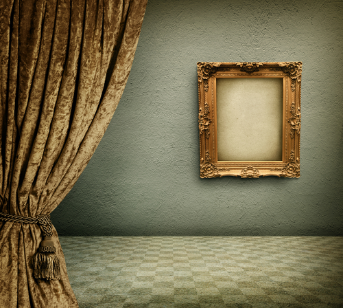 Old room with empty picture frame - stock photo