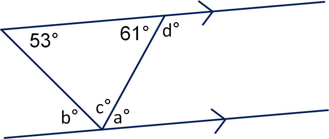 Geometry Angles In Triangles And On Parallel Lines Worksheet Edplace