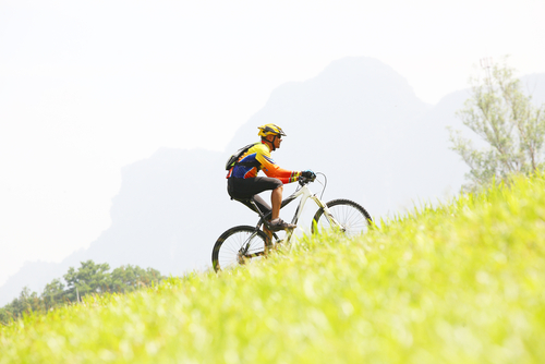 a cyclist going up a steep hill