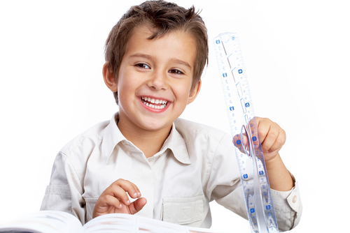 Image of a student holding a rule by the sticking out top hold point.