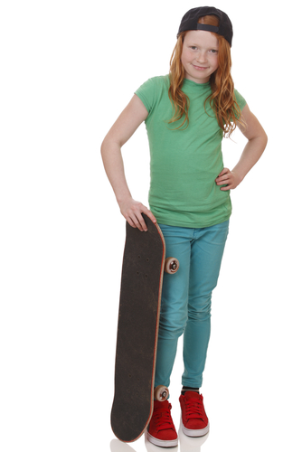 young girl with a skateboard