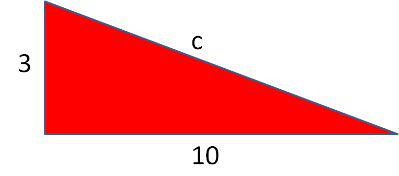 right angles triangle without hypotenuse length