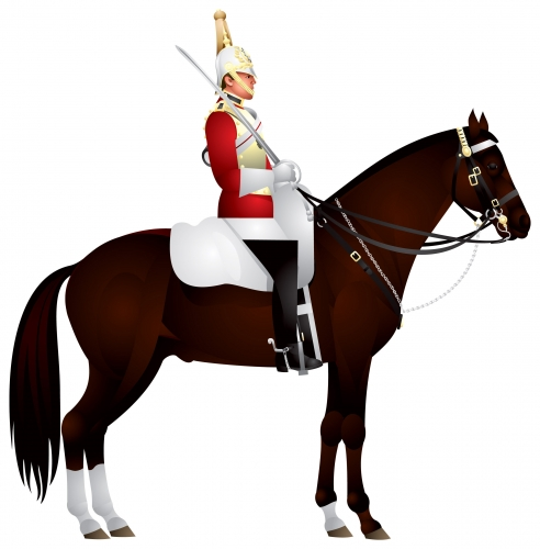 Royal horse guardsman on his horse, A mounted trooper of the Household Cavalry on duty, The Queen's Life Guard, London landmark - stock vector