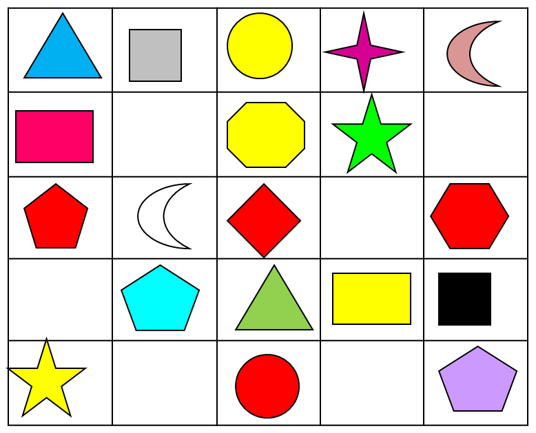Position and Direction: Find the Shapes Worksheet - EdPlace