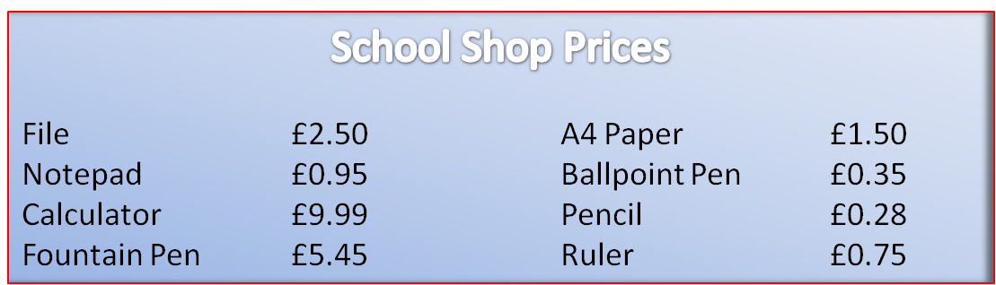 Shop prices